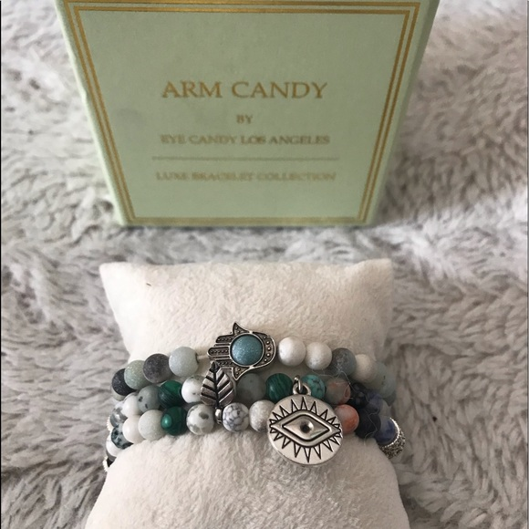 Wood bracelet evil eye arm candy set